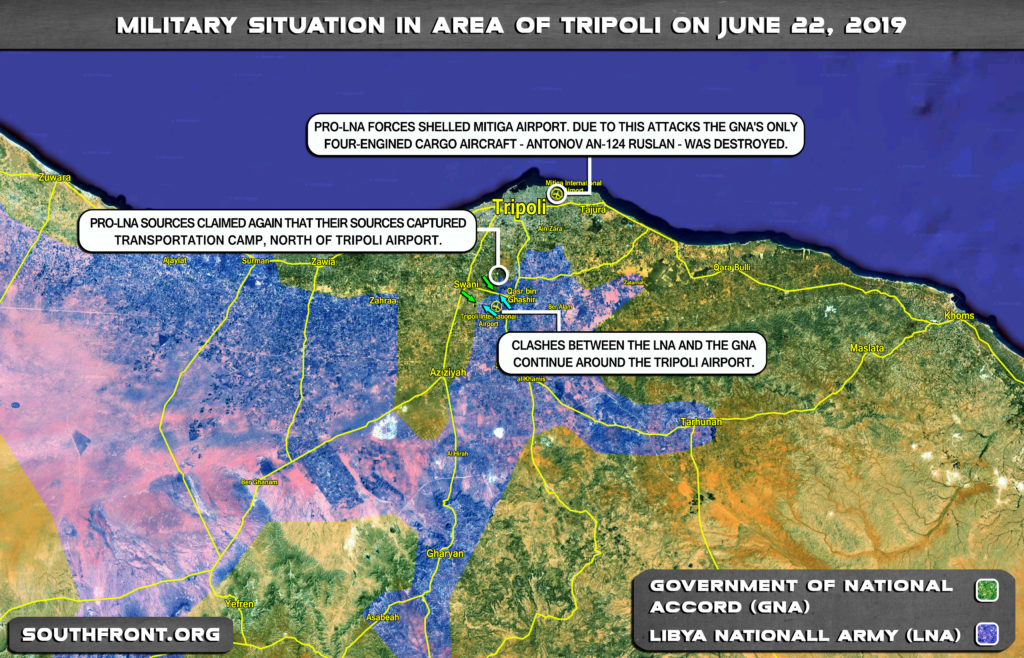 Military Sitaution In Area Of Libya's Tripoli On June 22, 2019 (Map Update)