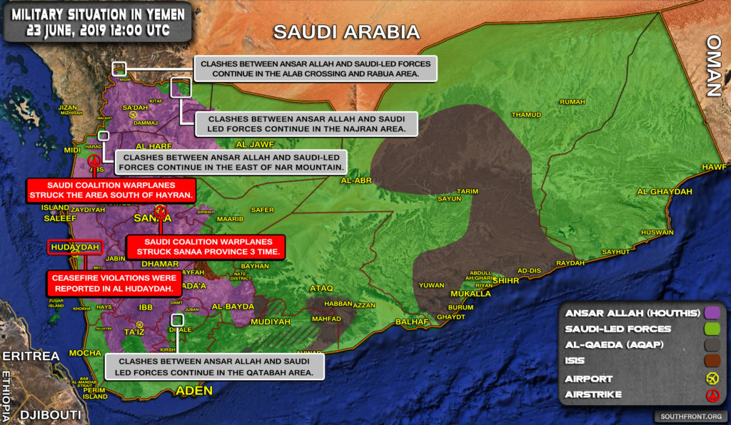Military Situation In Yemen On June 23, 2019 (Map Update)