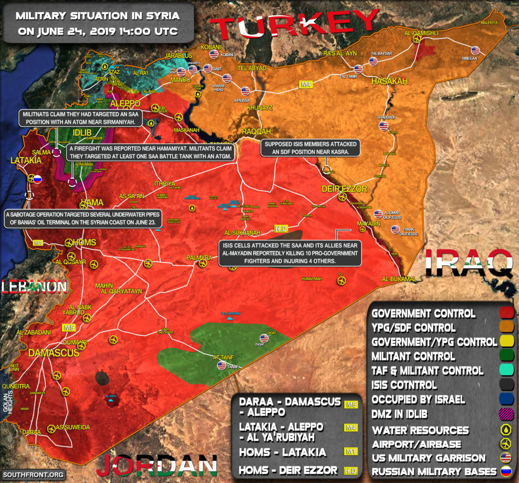 Military Situation In Syria On June 24, 2019 (Map Update)