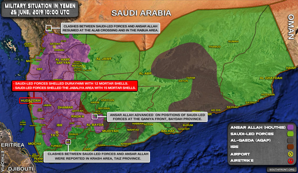 Military Situation In Yemen On June 25, 2019 (Map Update)