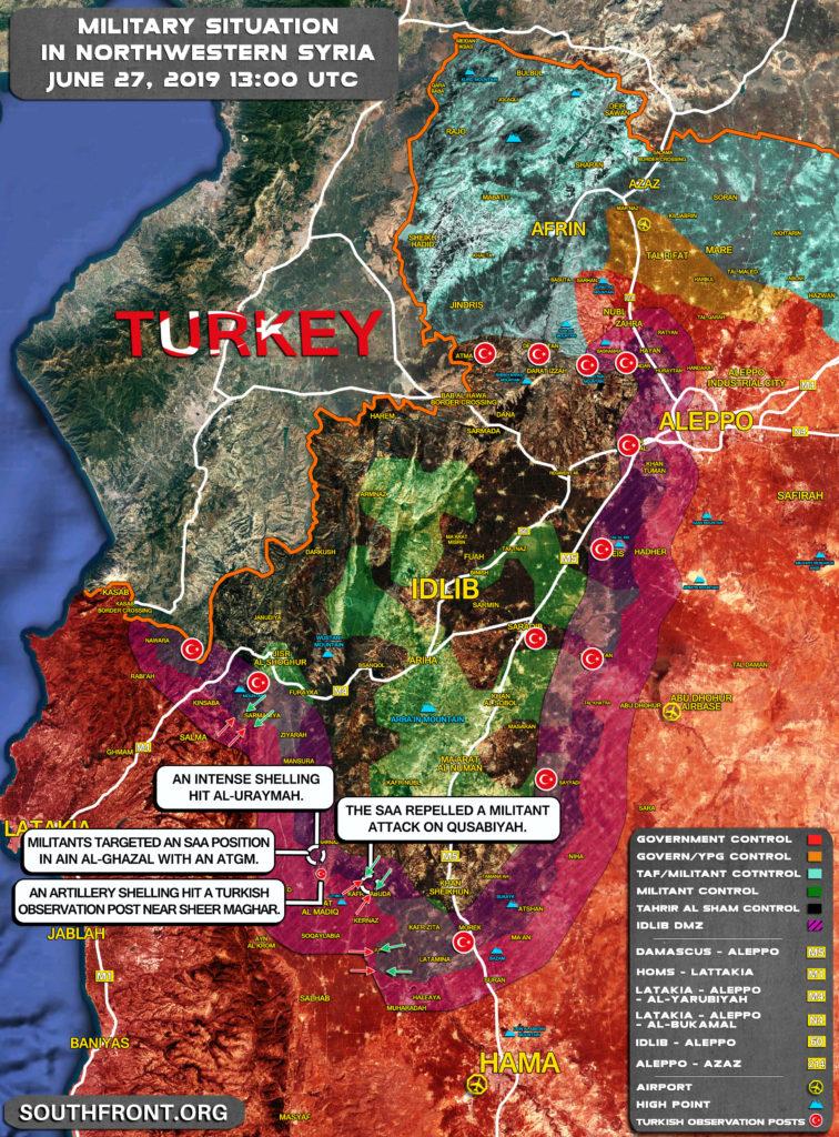 Útok Militantov Sýrskej Armády Pozície Blízkosti Qusabiyah V Severnom Hama (Aktualizácia Máp)