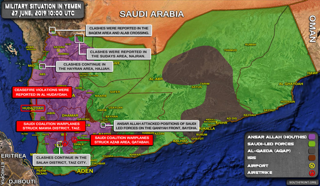 Military Situation In Yemen On June 27, 2019 (Map Update)