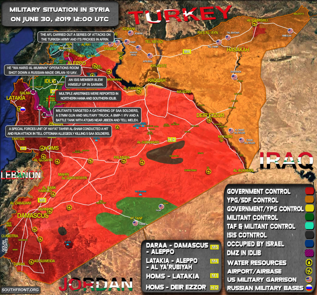 Idlib Zone And Afrin Remain Main Hot Points In Syria (Map)