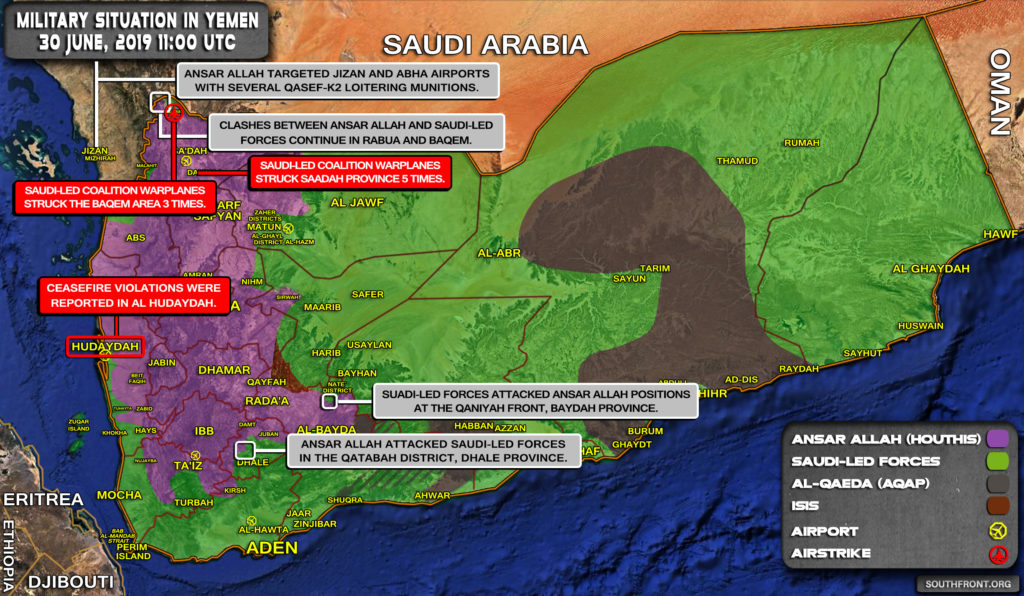 Military Situation In Yemen On June 30, 2019 (Map Update)