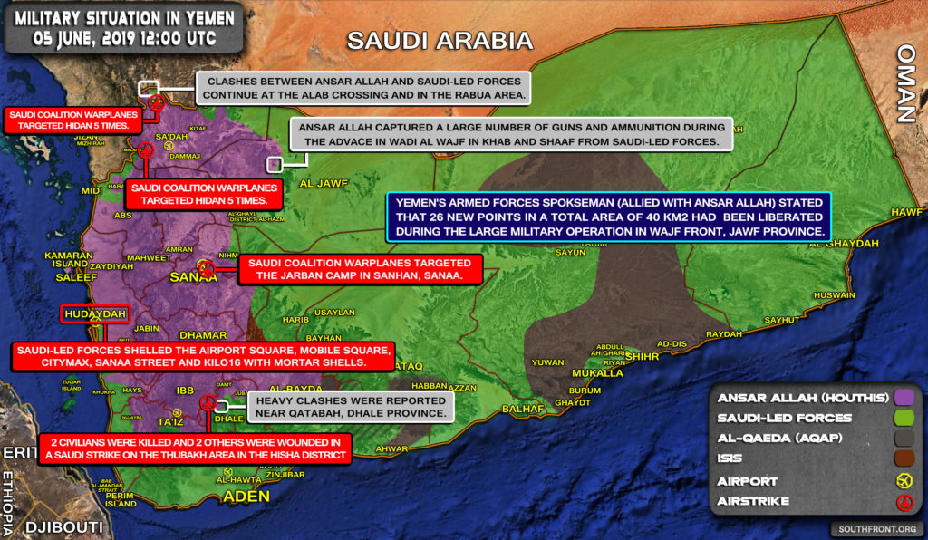 Military Situation In Yemen On June 5, 2019 (Map Update)