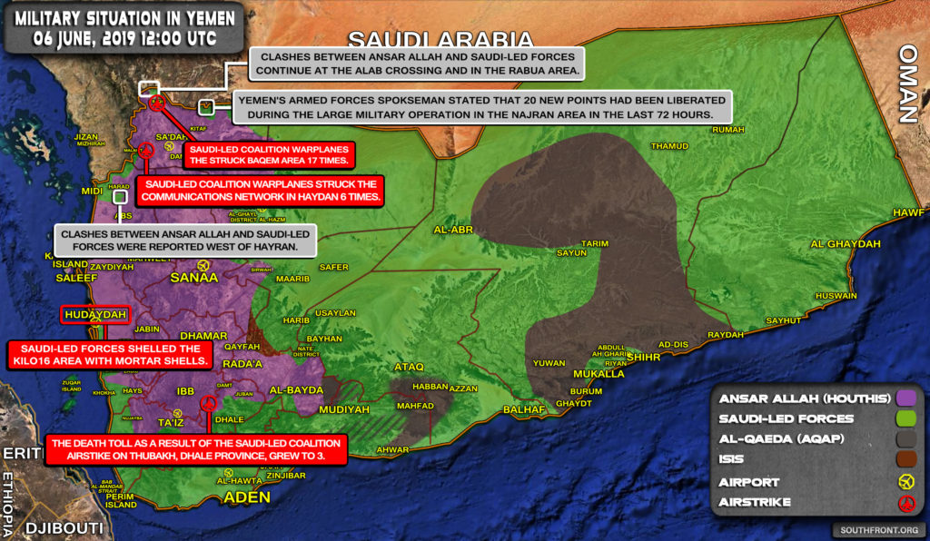 Military Situation In Yemen On June 6, 2019 (Map Update)