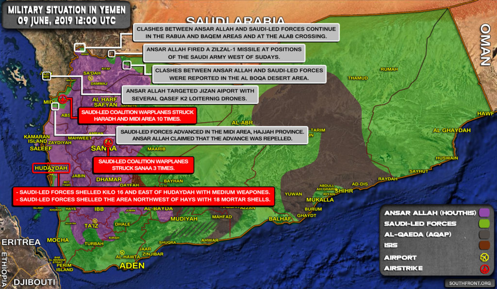 Military Situation In Yemen On June 9, 2019 (Map Update)