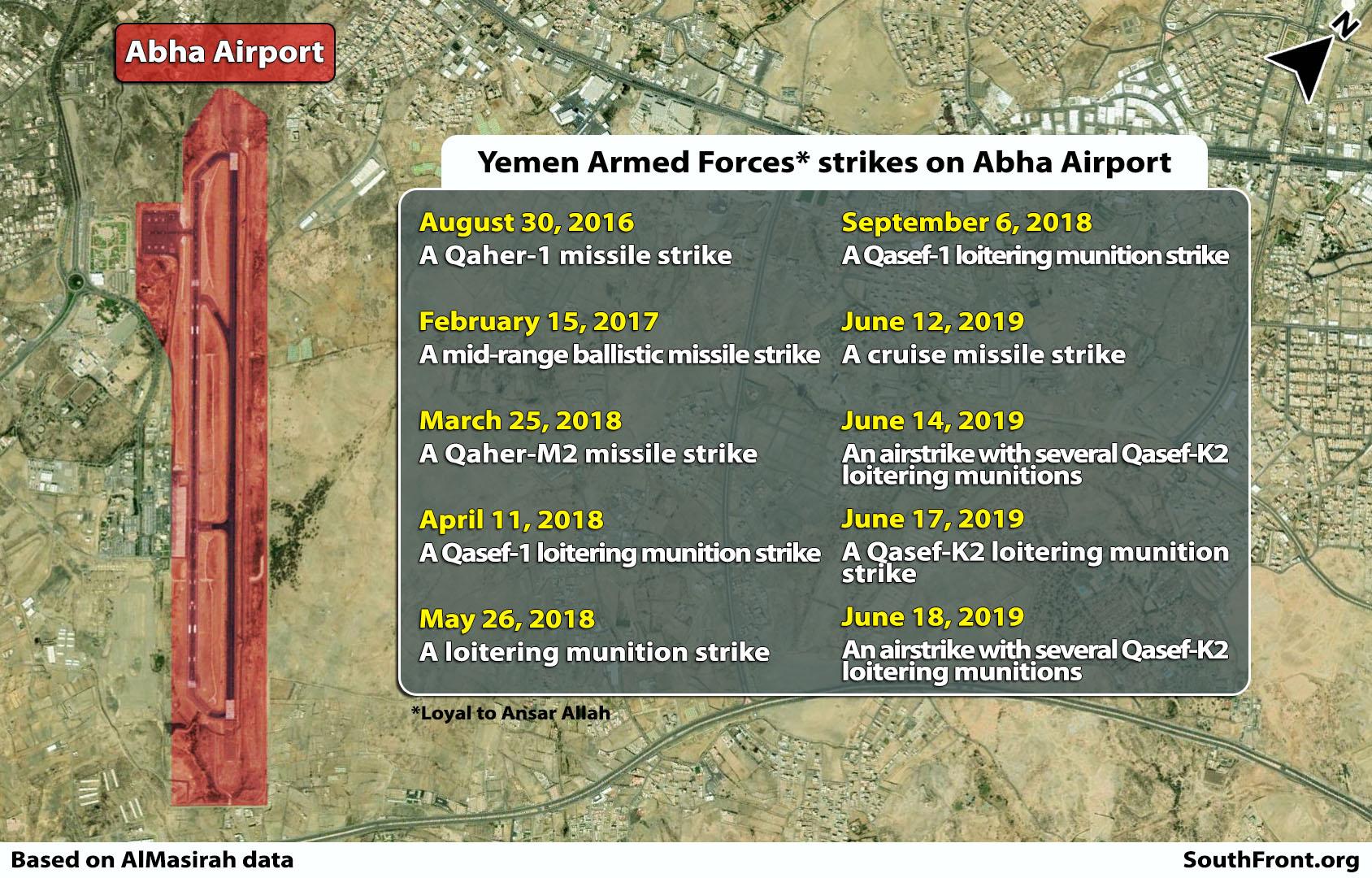 Ansar Allah Carried Out 10 Strikes On Saudi Arabia's Abha Airport