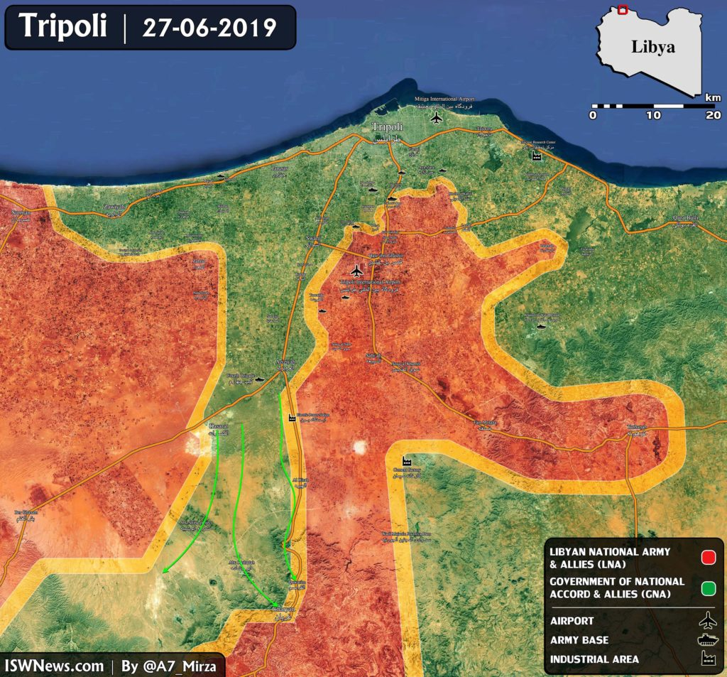 Libyan National Army Launched Counteroffensive To Recapture Key Logistical Hub South Of Tripoli (Map)