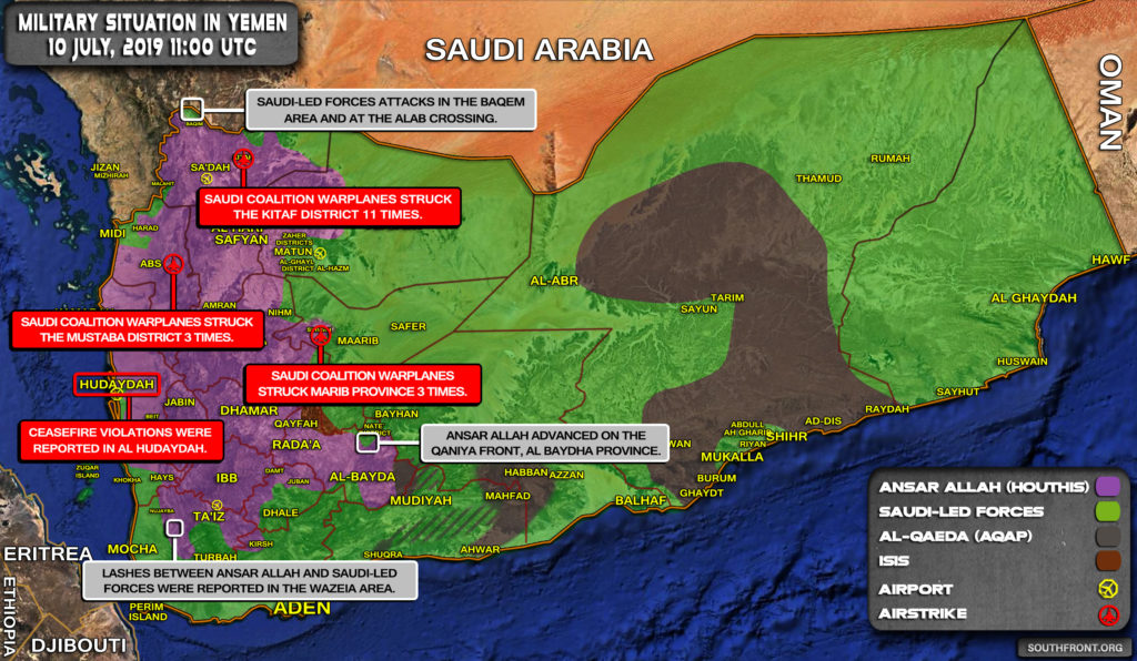 Military Situation In Yemen On July 10, 2019 (Map Update)