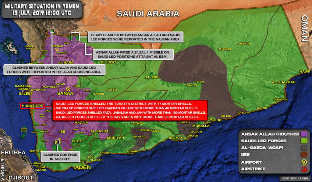 Military Situation In Yemen On July 13, 2019 (Map Update)