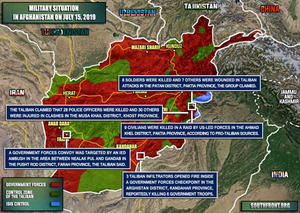 Military Situation In Afghanistan On July 15, 2019 (Map Update)