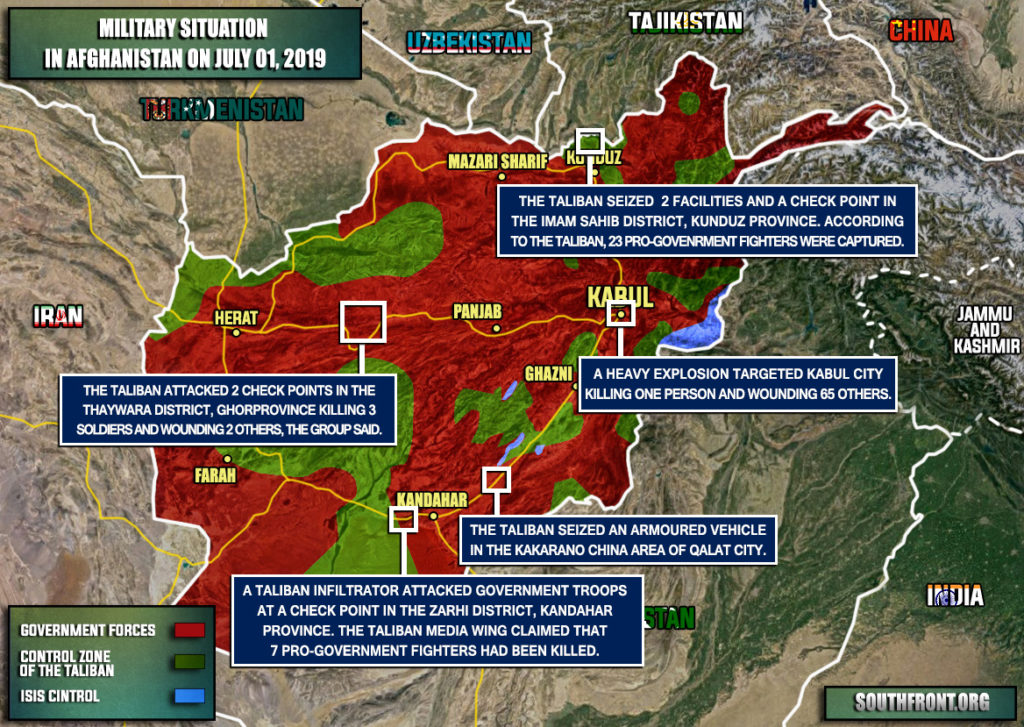Military Situation In Afghanistan On July 1, 2019 (Map Update)