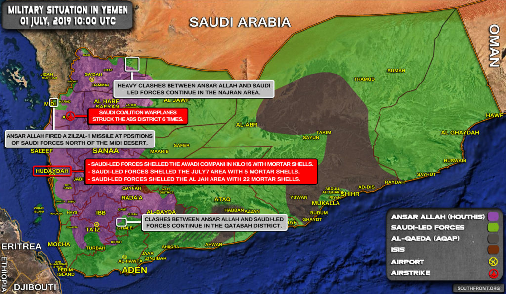 Military Situation In Yemen On July 1, 2019 (Map Update)