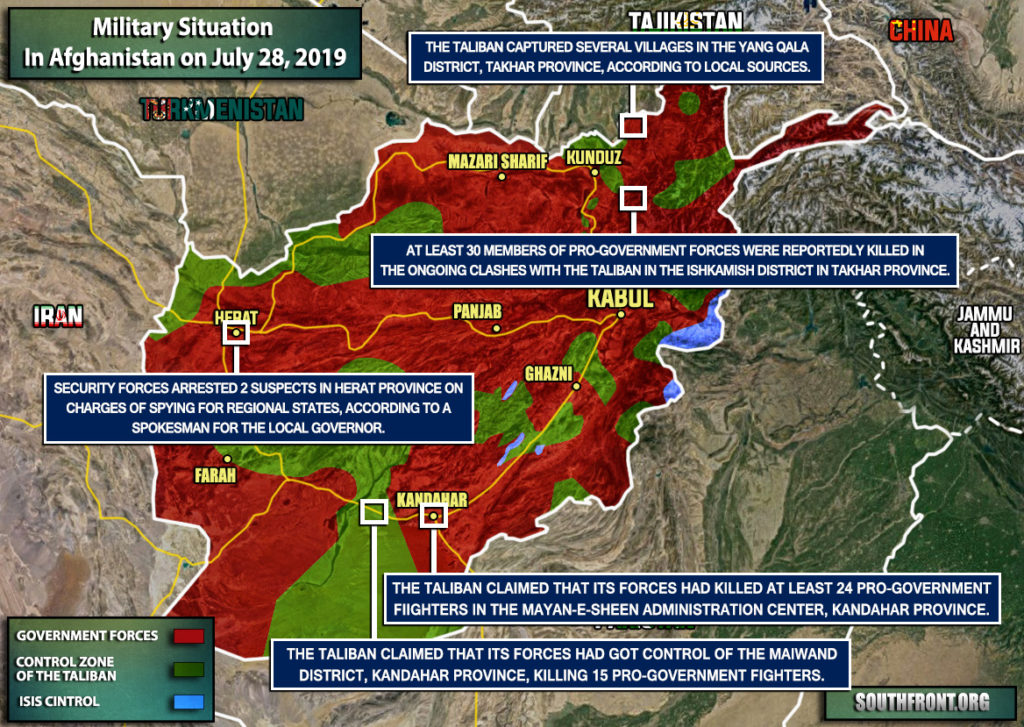 Military Situation In Afghanistan On July 28, 2019 (Map Update)