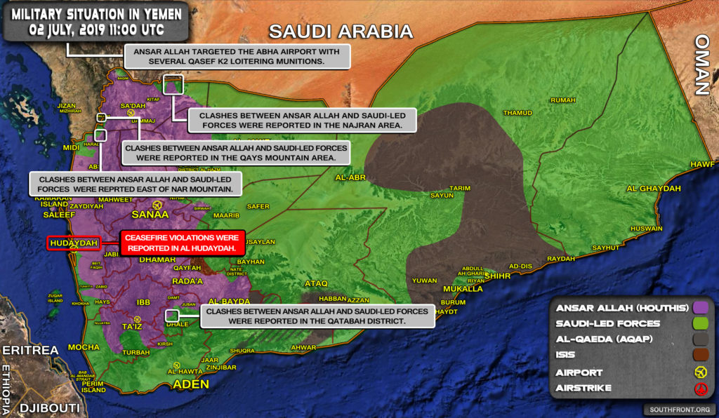 Military Situation In Yemen On July 2, 2019 (Map Update)
