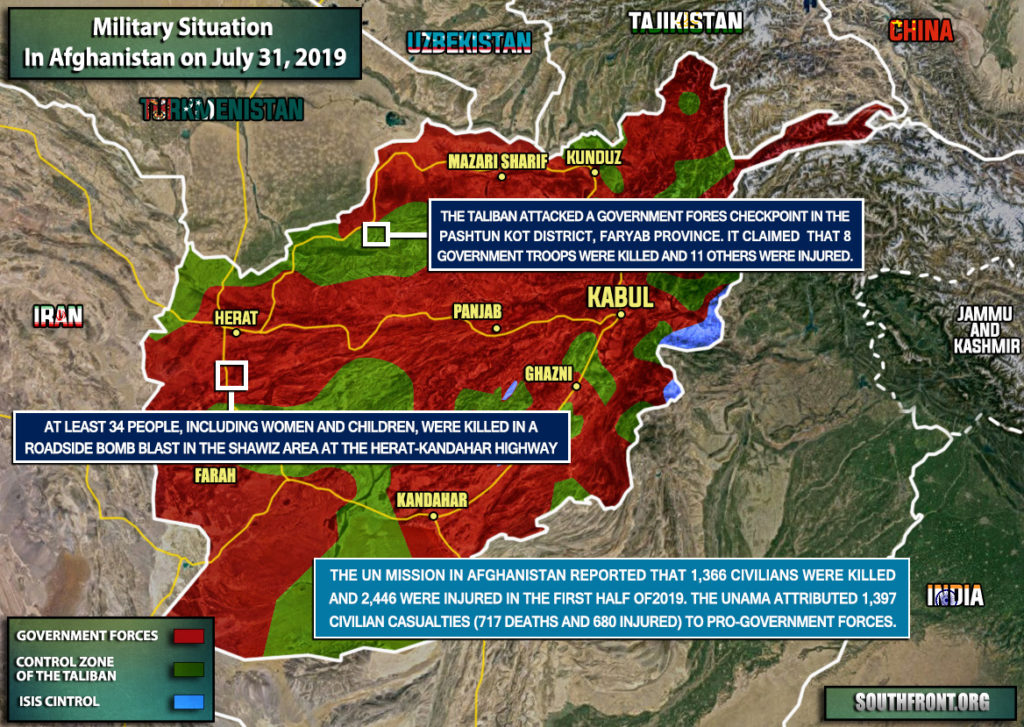 Military Situation In Afghanistan On July 31, 2019 (Map Update)