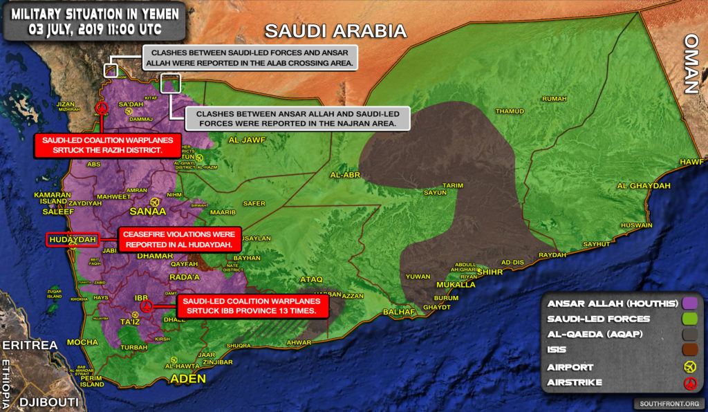 Military Situation In Yemen On July 3, 2019 (Map Update)