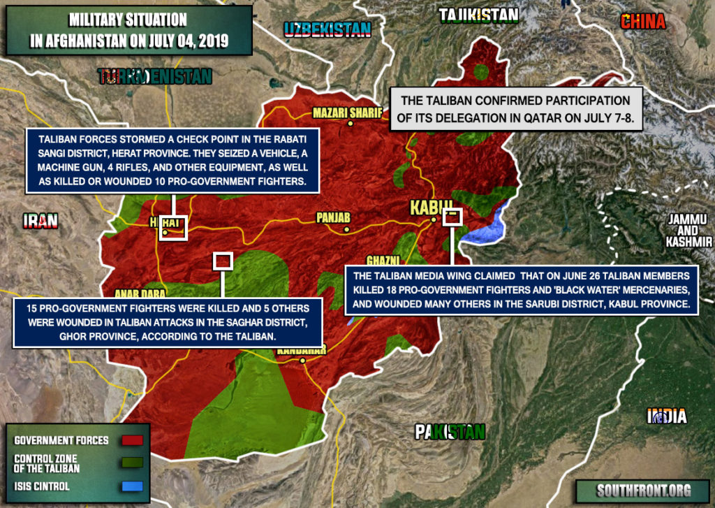 Military Situation In Afghanistan On July 4, 2019 (Map Update)