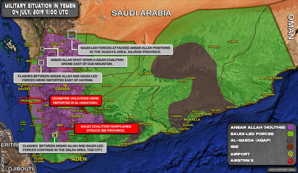 Military Situation In Yemen On July 4, 2019 (Map Update)