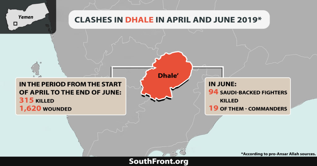 315 Saudi-backed Fighters Killed, 1,620 Wounded In Yemen's Dhale Province During Last To Month: Report