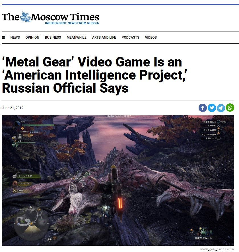 "Deputy Russian Defense Minister Mocked By MSM After Mentioning ""Metal Gear"" Propaganda Operation"