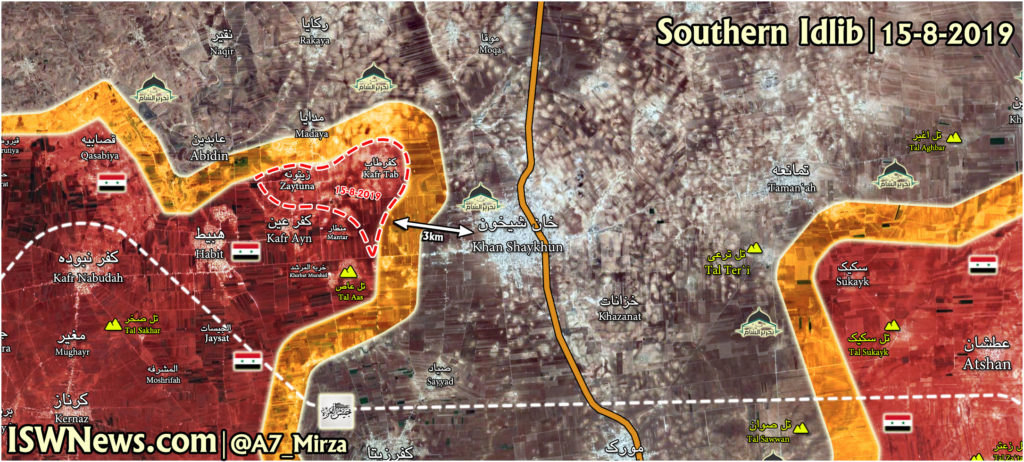 Map Update: Syrian Army Is In Only About 3km From Khan Shaykhun