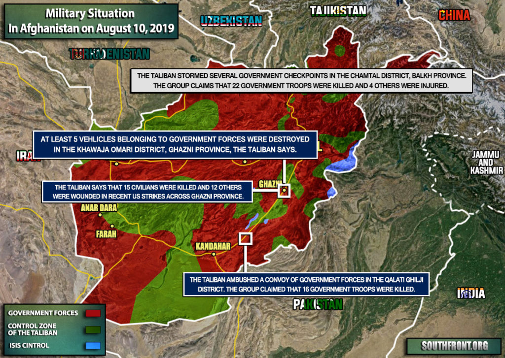 Military Situation In Afghanistan On August 10, 2019 (Map Update)