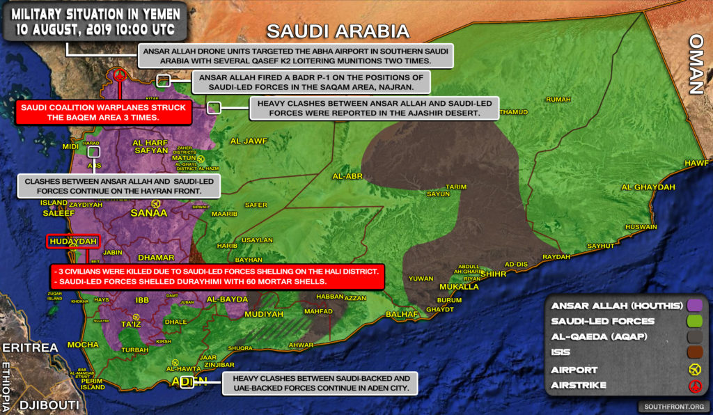 Military Situation In Yemen On August 10, 2019 (Map Update)