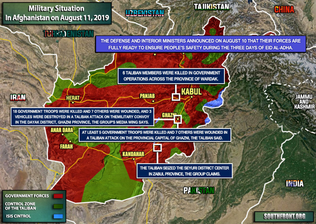 Military Situation In Afghanistan On August 11, 2019 (Map Update)