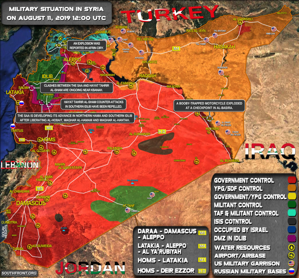 Military Situation In Syria On August 11, 2019 (Map Update)