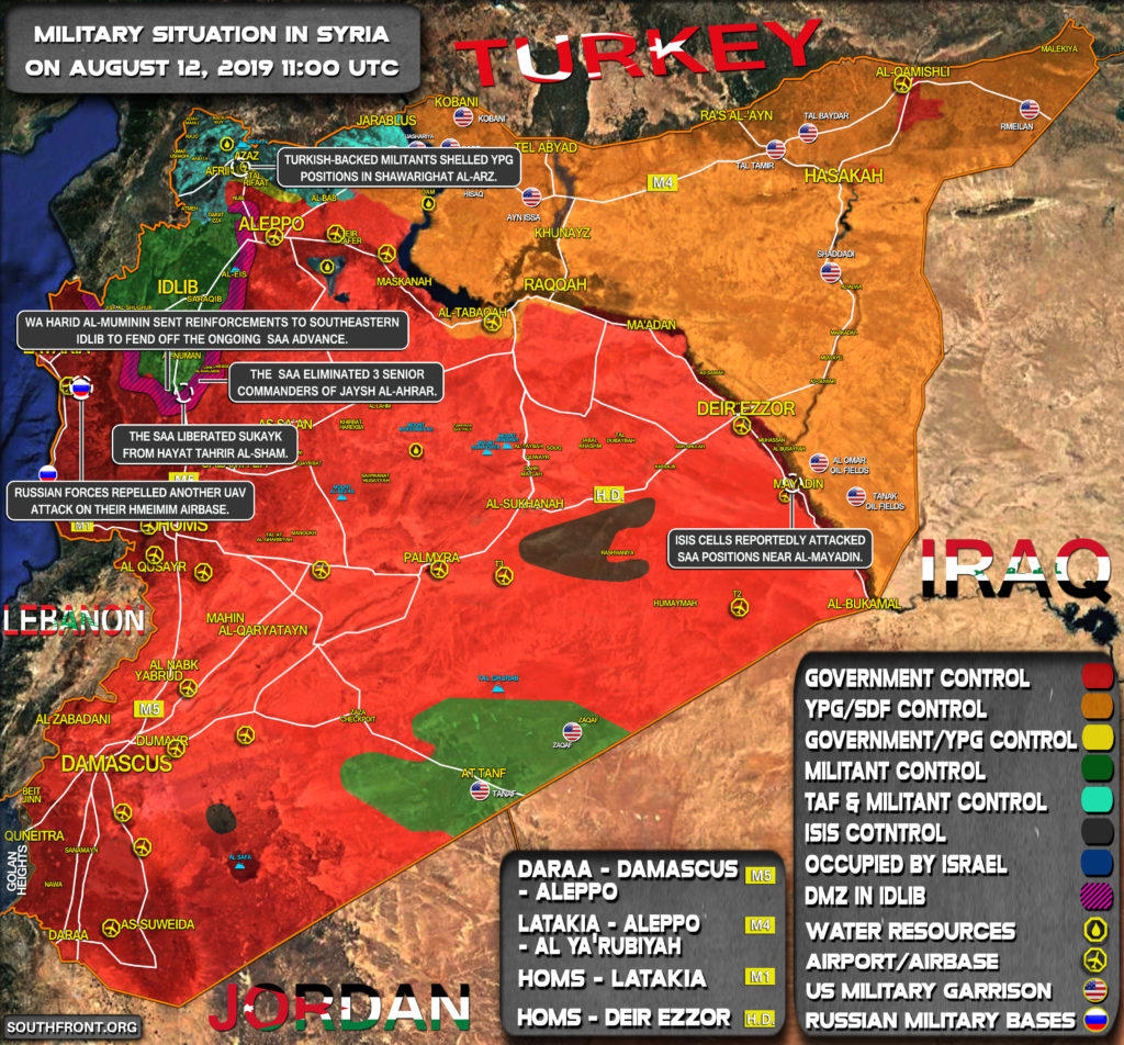 Military Situation In Syria On August 12, 2019 (Map Update)