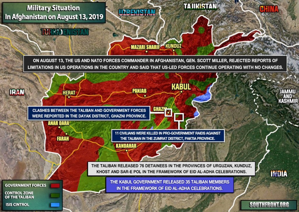 Military Situation In Afghanistan On August 13, 2019 (Map Update)