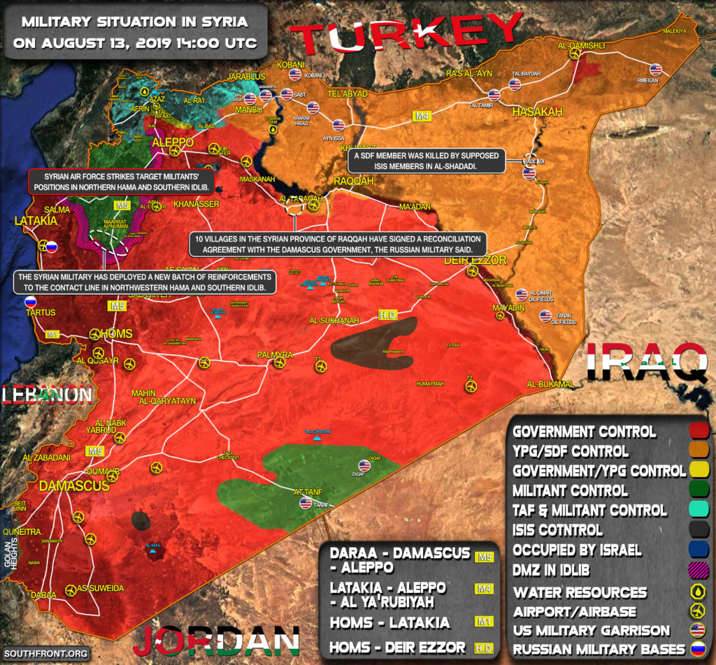 Military Situation In Syria On August 13, 2019 (Map Update)