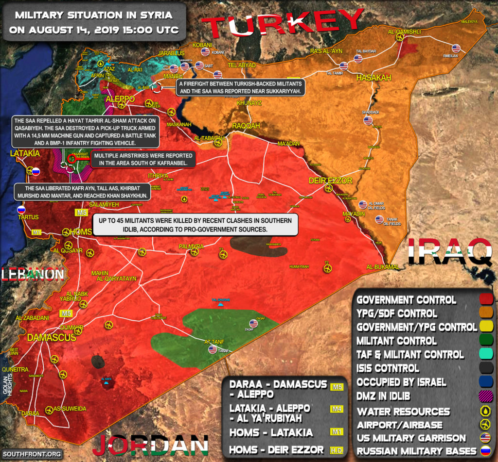 Military Situation In Syria On August 14, 2019 (Map Update)