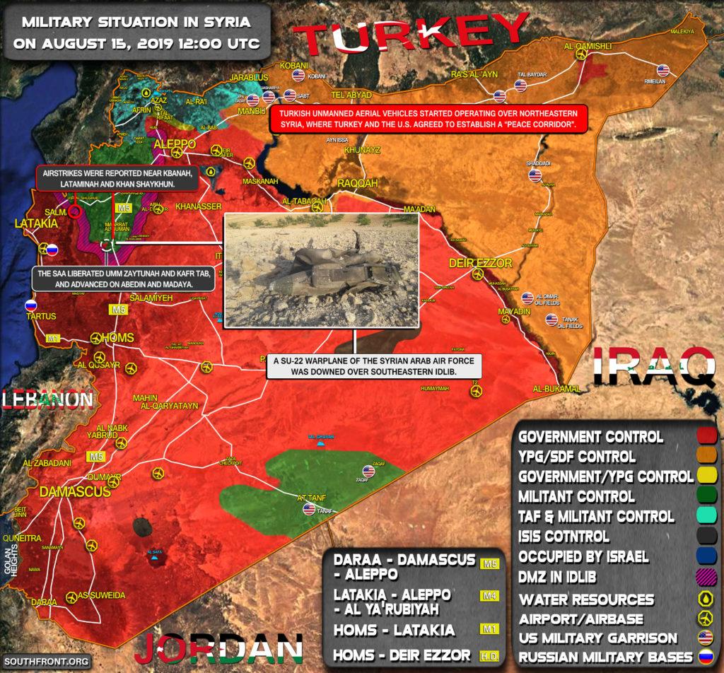 Vojenská Situácia V Sýrii Augusta 15, 2019 (Aktualizácia Máp)