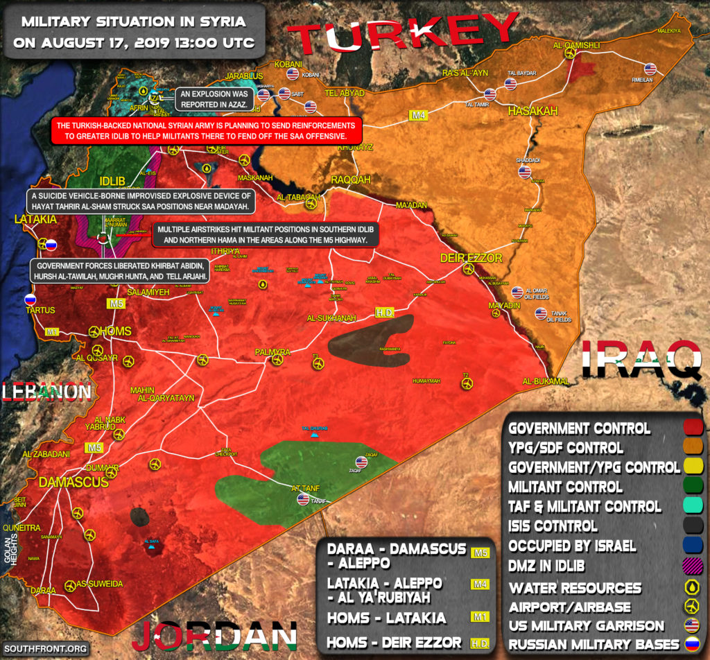 Military Situation In Syria On August 17, 2019 (Map Update)