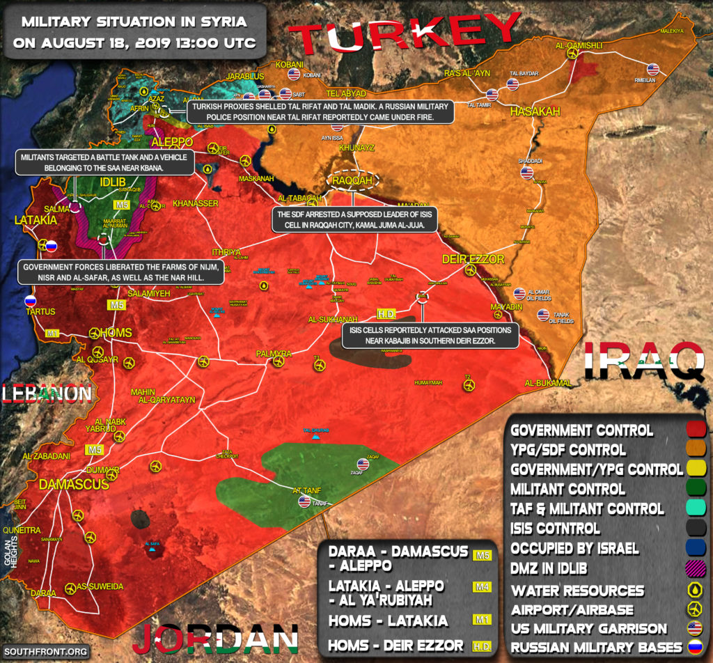 Military Situation In Syria On August 18, 2019 (Map Update)