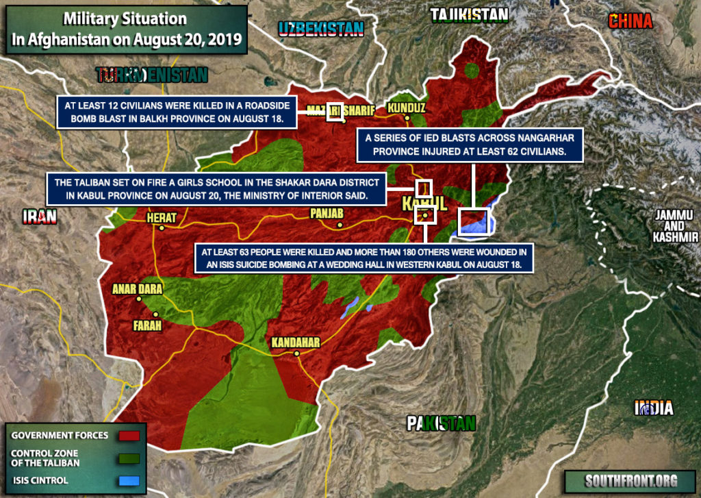 Military Situation In Afghanistan On August 20, 2019 (Map Update)