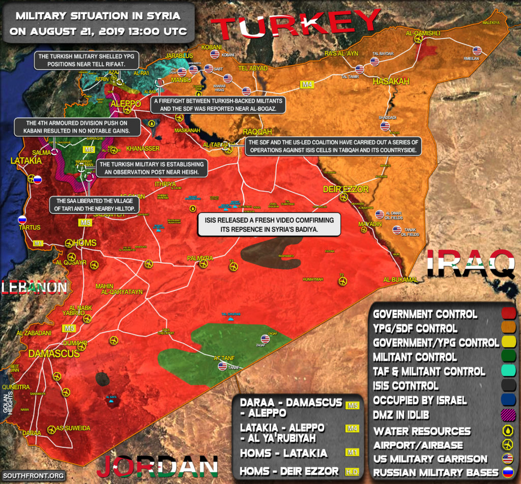 Military Situation In Syria On August 21, 2019 (Map Update)