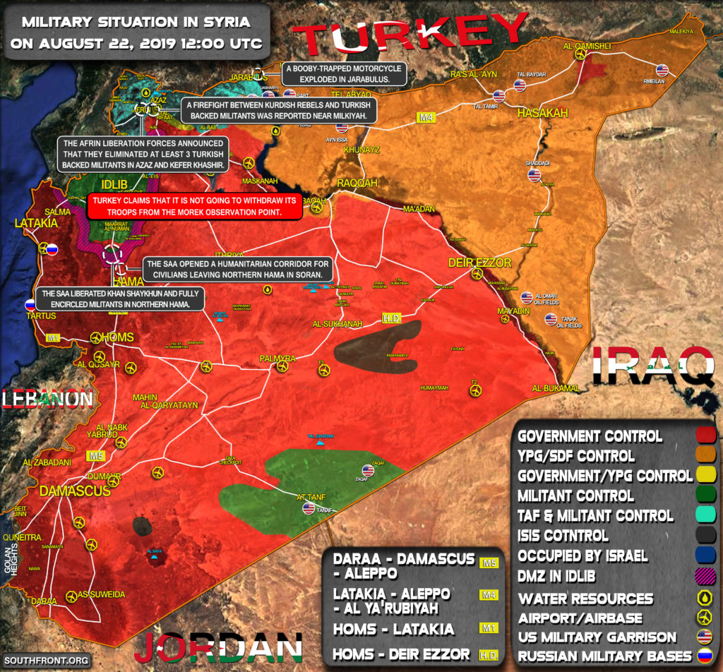Military Situation In Syria On August 22, 2019 (Map Update)