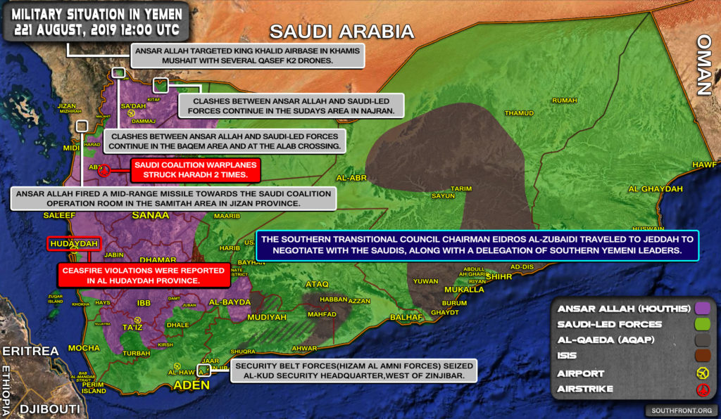Military Situation In Yemen On August 22, 2019 (Map Update)