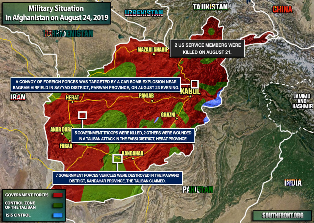 Military Situation In Afghanistan On August 24, 2019 (Map Update)