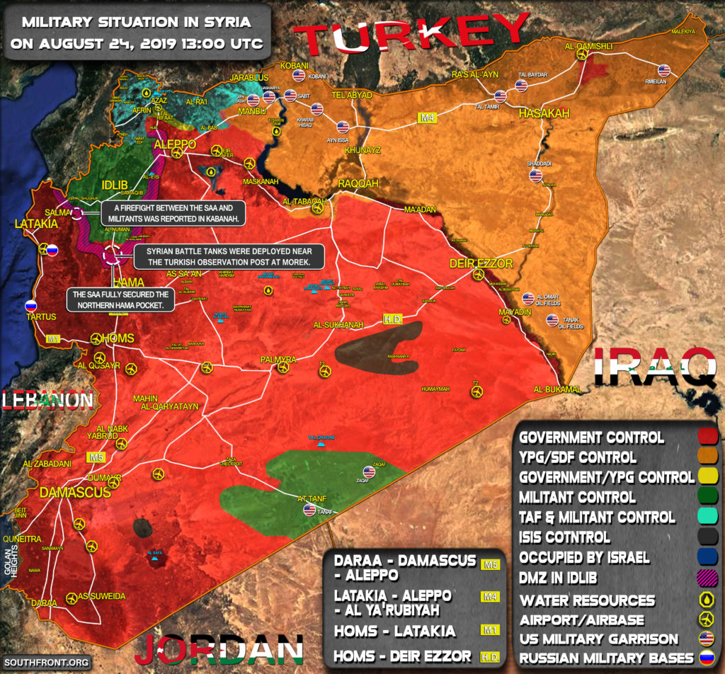 Military Situation In Syria On August 24, 2019 (Map Update)
