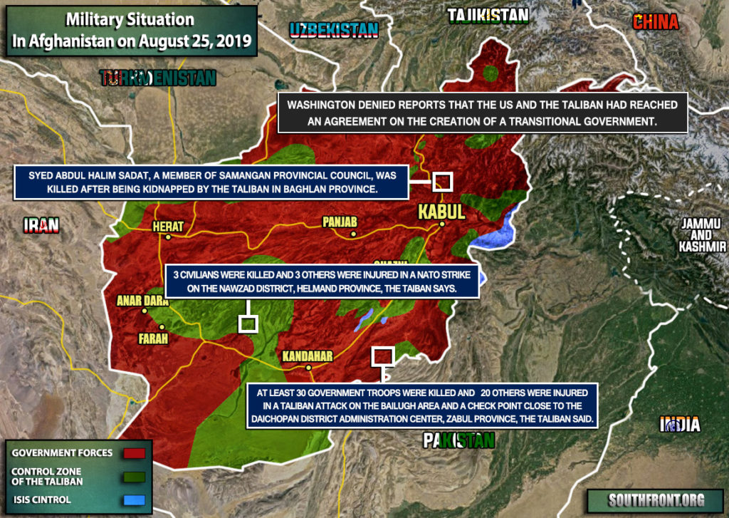 Military Situation In Afghanistan On August 25, 2019 (Map Update)
