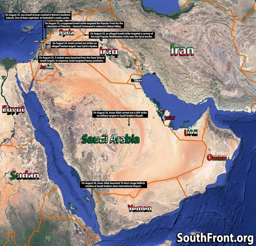 Map Update: Missile And Air Strikes On Saudi Arabia, Iraq, Syria, Gaza And Israel Over Past Few Days