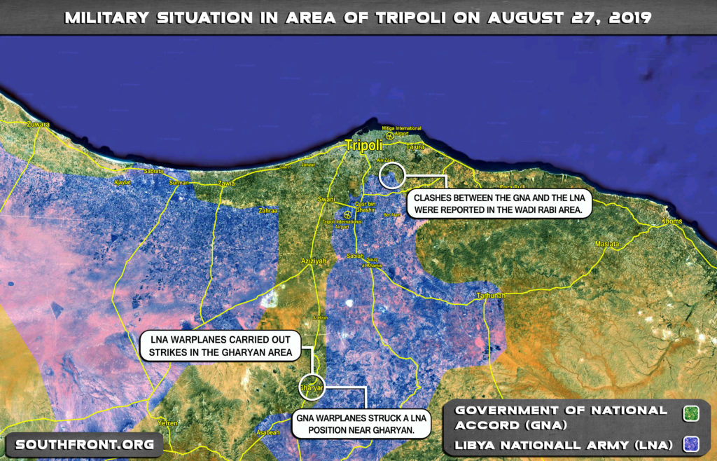 Map Update: Military Situation In Libya's Area Of Tripoli On August 27, 2019