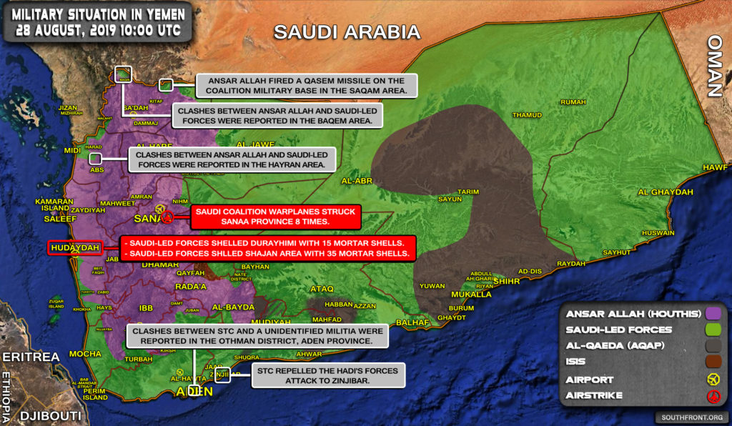 Military Situation In Yemen On August 28, 2019 (Map Update)