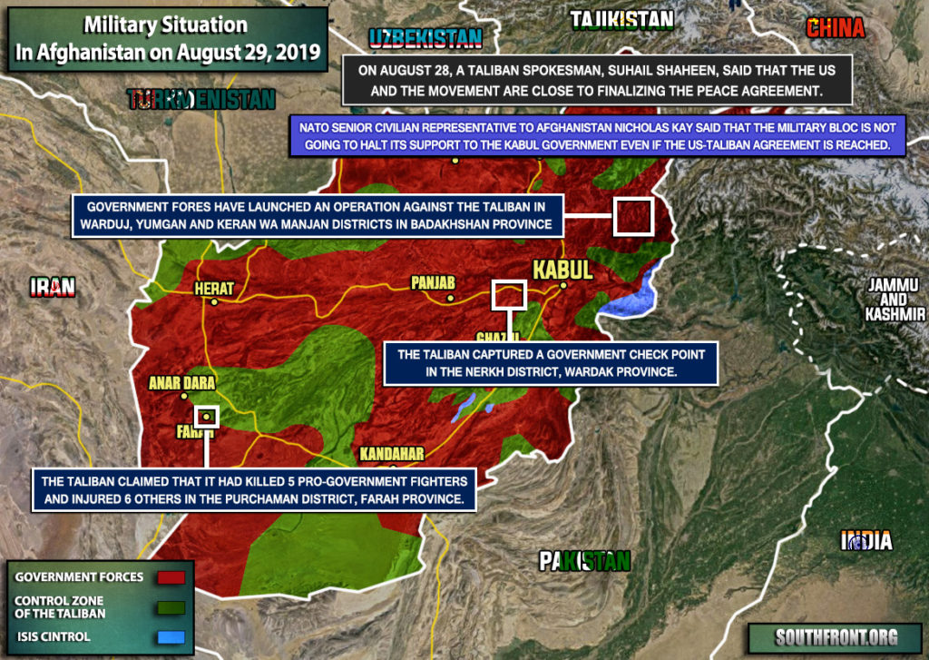 Military Situation In Afghanistan On August 29, 2019 (Map Update)