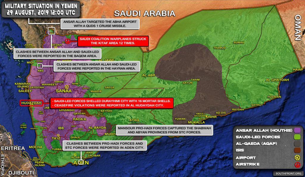 Military Situation In Yemen On August 29, 2019 (Map Update)